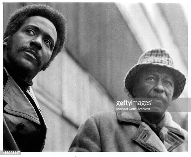 Actor Richard Roundtree and director Gordon Parks on set of the movie 'Shaft's Big Score' circa 1972