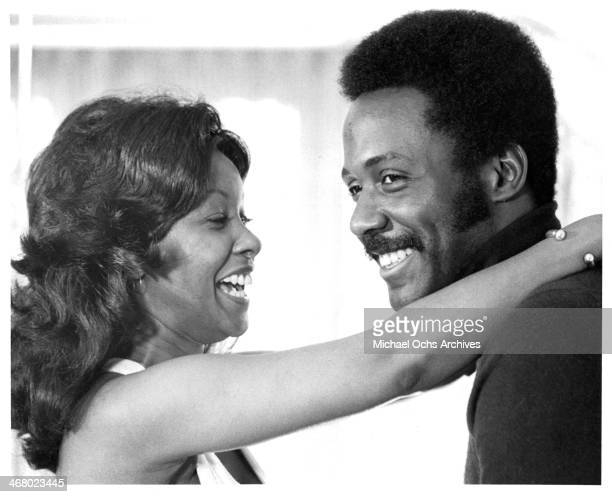 """Actor Richard Roundtree and Kathy Imrie on set of the movie """"Shaft's Big Score!"""", circa 1972."""