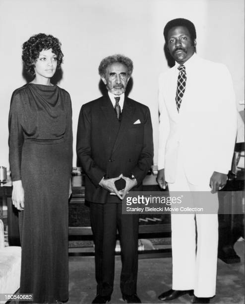 Actor Richard Roundtree and Vonetta McGee being received by Ethiopian Emperor Haile Selassie to promote the movie 'Shaft in Africa' 1973