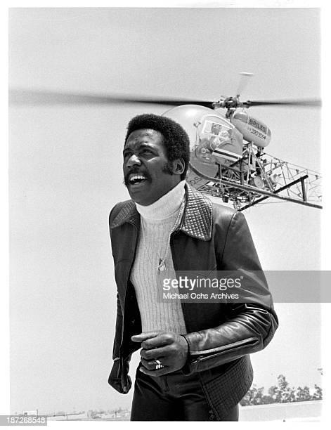 "Actor Richard Roundtree on set for the TV series"" Shaft"" as John Shaft. Circa 1973."