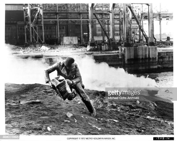 "Actor Richard Roundtree on set of the movie ""Shaft's Big Score!"", circa 1972."