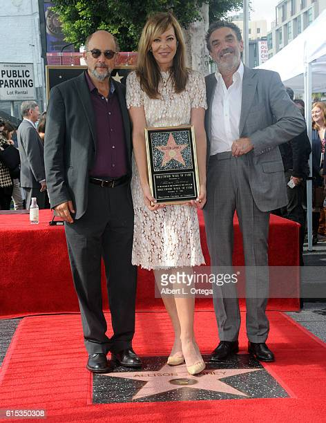 Actor Richard Schiff actress Allison Janney and producer Chuck Lorre at the Star ceremony held On The Hollywood Walk Of Fame on October 17 2016 in...