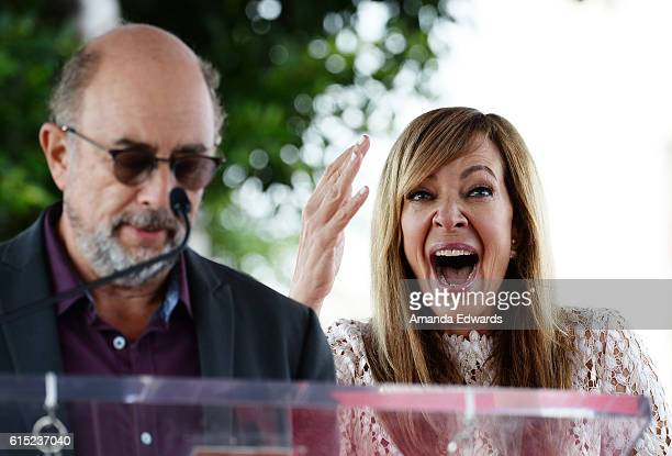 Actor Richard Schiff and actress Allison Janney attend Janney's Star ceremony on The Hollywood Walk of Fame on October 17 2016 in Hollywood California