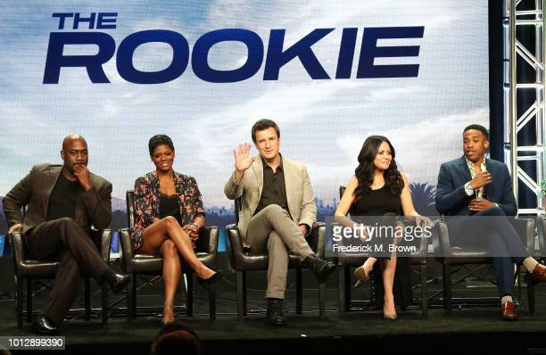 Actor Richard T Jones actress Afton Williams actor Nathan Fillion actress Alyssa Diaz and actor Titus Makin Jr of the television show The Rookie...