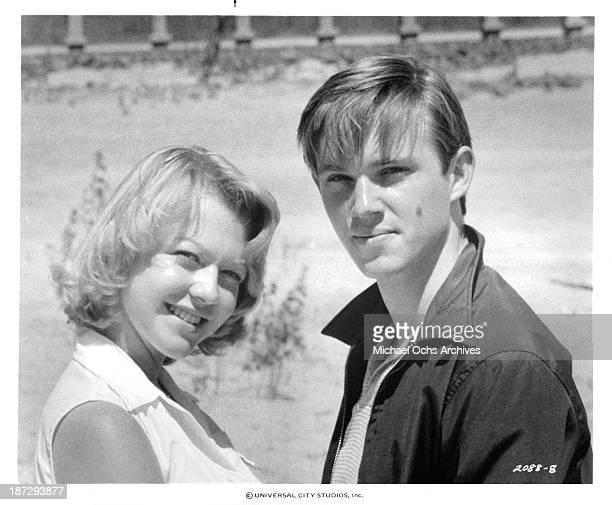 Actor Richard Thomas and actress Deborah Benson on set for the Universal Studios movie'September 30 1955' in 1977
