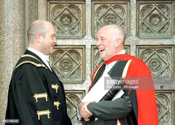 Actor Richard Wilson who was previously Rector of the University of Glasgow chats with Eastenders star and new Rector Ross Kemp after a ceremony at...