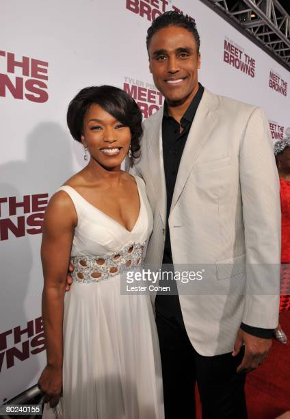 Actor Rick Fox and Actress Angela Bassett attend the Lionsgate Premiere of Tyler Perry's Meet the Browns at The Cinerama Dome on March 13 2008 in...