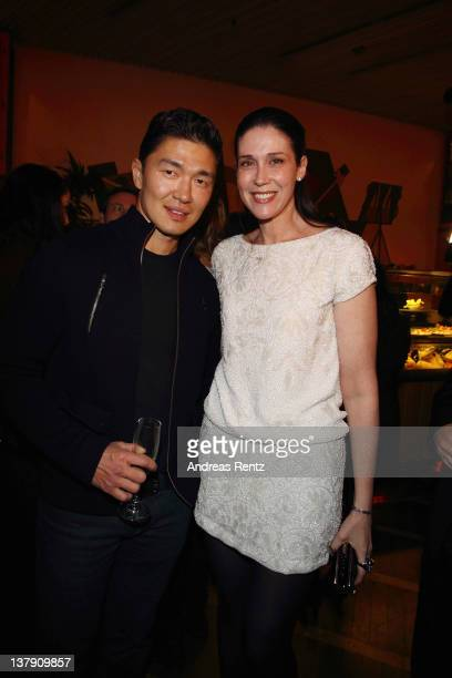 Actor Rick Yune and Nathalie von Bismarck attend the 'Lambertz Monday Night' PreDinner on January 29 2012 in Cologne Germany