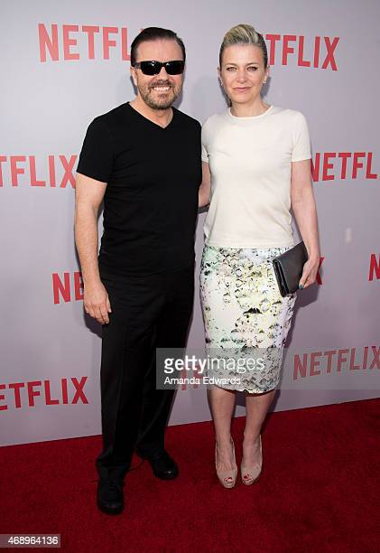Actor Ricky Gervais and his wife author Jane Fallon arrive at a special For Your Consideration screening and QA of Netflix's 'Derek' at Paramount...