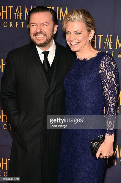 "Actor Ricky Gervais and Jane Fallon attend the ""Night At The Museum: Secret Of The Tomb"" New York Premiere at Ziegfeld Theater on December 11, 2014..."