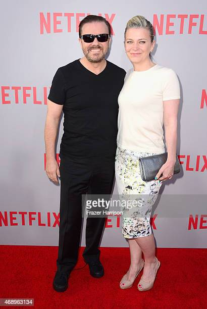 Actor Ricky Gervais and wife Jane Fallon arrive for the screening of Netflix's 'Derek' at Paramount Studios on April 8 2015 in Hollywood California