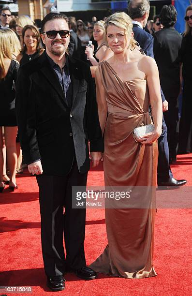 Actor Ricky Gervais arrives at the 62nd Annual Primetime Emmy Awards held at the Nokia Theatre LA Live on August 29 2010 in Los Angeles California