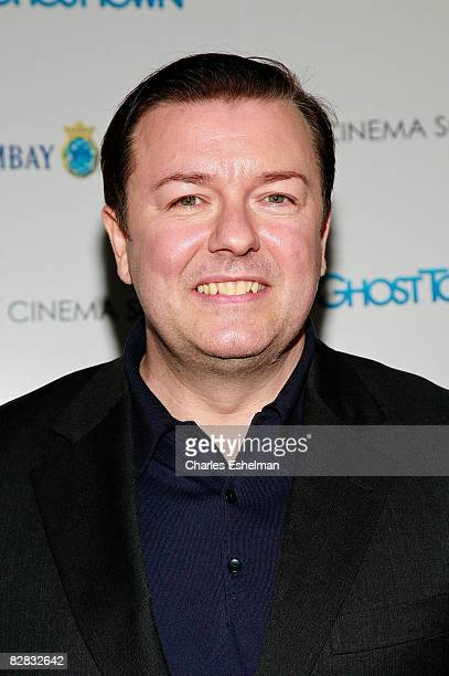 Actor Ricky Gervais arrives at the screening of Ghost Town hosted by The Cinema Society with Brooks Brothers and Bombay Sapphire at the IFC Center on...