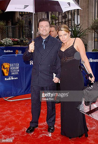 """Actor Ricky Gervais arrives at the """"The British Academy Television Awards"""" at the Grosvenor House Hotel on April 18, 2004 in London."""