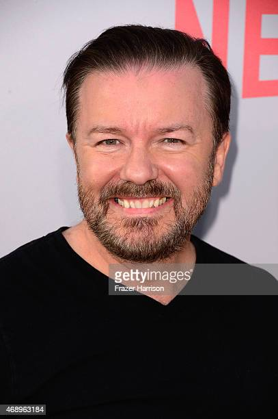Actor Ricky Gervais arrives for the screening of Netflix's Derek at Paramount Studios on April 8 2015 in Hollywood California