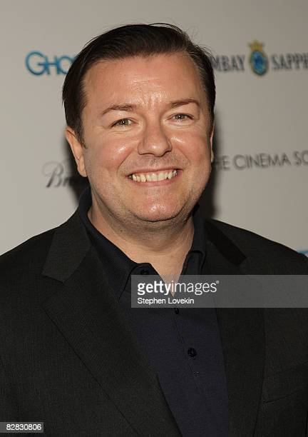 Actor Ricky Gervais attends a special screening hosted by The Cinema Society and Brooks Brothers with Bombay Sapphire at The IFC Center on September...