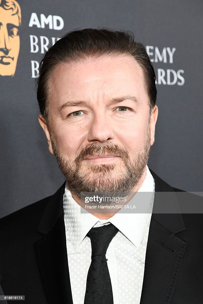 Actor Ricky Gervais attends the 2016 AMD British Academy Britannia Awards presented by Jaguar Land Rover and American Airlines at The Beverly Hilton Hotel on October 28, 2016 in Beverly Hills, California.