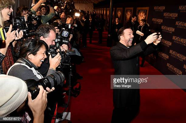 "Actor Ricky Gervais attends the ""Night At The Museum: Secret Of The Tomb"" New York Premiere at Ziegfeld Theater on December 11, 2014 in New York City."