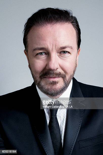 Actor Ricky Gervais poses for a portrait at the 2016 AMD British Academy Britannia Awards presented by Jaguar Land Rover and American Airlines at The...