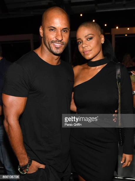Actor Ricky Whittle and actress Sanaa Lathan at 'Nappily Ever After' wrap party at Suite Lounge on September 30 2017 in Atlanta Georgia
