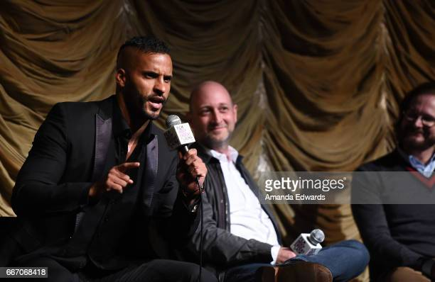 Actor Ricky Whittle and producers/showrunners Michael Green and Bryan Fuller attend the Film Independent at LACMA special screening and QA of...