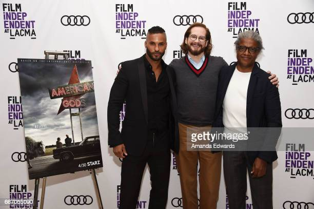 Actor Ricky Whittle producer/showrunner Bryan Fuller and Film Independent at LACMA film curator Elvis Mitchell attend the Film Independent at LACMA...
