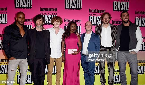 Actor Ricky Whittle writer Neil Gaiman actors Bruce Langley Yetide Badaki writers Michael Green Bryan Fuller and actor Pablo Schreiberattends...