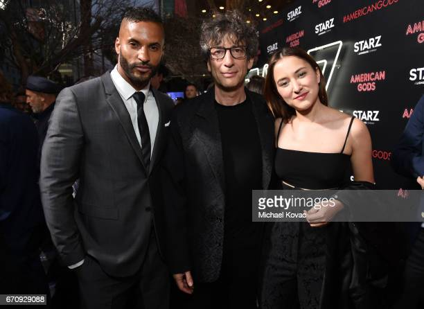 Actor Ricky Whittle writer Neil Gaiman and actor Zelda Williams attend the 'American Gods' premiere at ArcLight Hollywood on April 20 2017 in Los...
