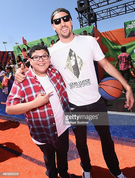 Actor Rico Rodriguez and NBA player Klay Thompson attend the Nickelodeon Kids' Choice Sports Awards 2015 at UCLA's Pauley Pavilion on July 16 2015 in...