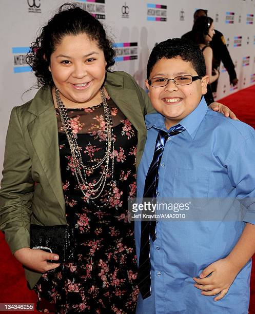 Actor Rico Rodriguez and Raini Rodriguez arrive at the 2010 American Music Awards at Nokia Theatre LA Live on November 21 2010 in Los Angeles...