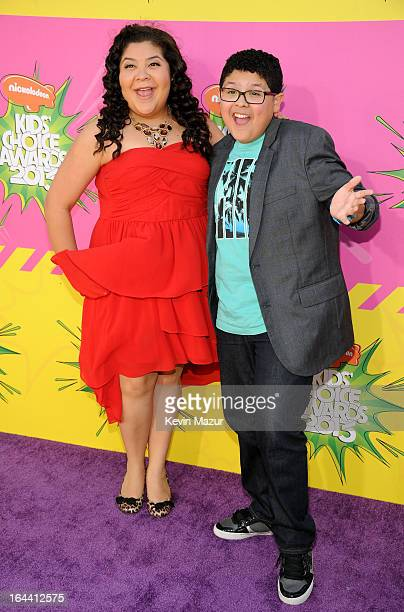 Actor Rico Rodriguez and sister Raini Rodriguez arrive at Nickelodeon's 26th Annual Kids' Choice Awards at USC Galen Center on March 23, 2013 in Los...