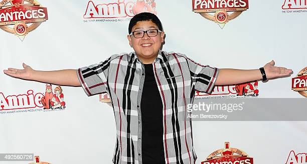 Actor Rico Rodriguez attends the premiere of 'Annie' at the Hollywood Pantages Theatre on October 13 2015 in Hollywood California