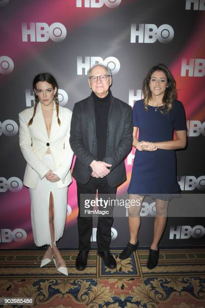 Actor Riley Keough producer Barry Levinson and consultant Sara Ganim attend HBO Winter TCA 2018 on January 11 2018 in Pasadena California
