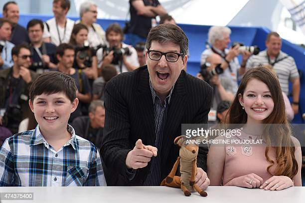US actor Riley Osborne US director Mark Osborne and US actress Mackenzie Foy pose during a photocall for the film The Little Prince at the 68th...