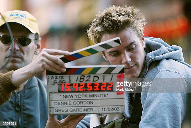 Actor Riley Smith is shown on the set of New York Minute October 2 2003 in New York City