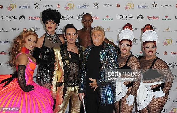 Actor Rip Taylor and the cast of Zumanity arrive to the Hollywood Walk of Fame's 50th Anniversary Celebration on November 3 2010 in Hollywood...