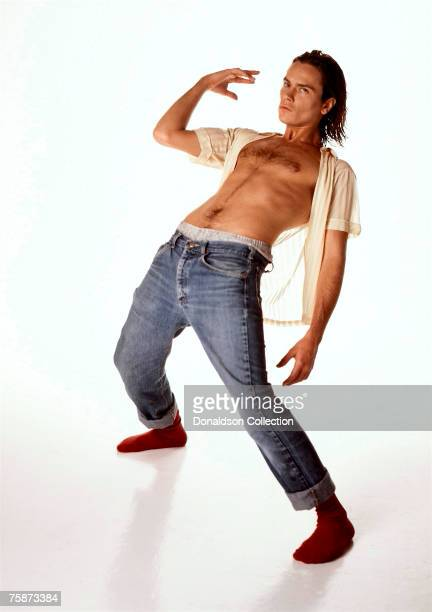 Actor River Phoenix poses at a photoshoot in a studio in Los Angeles California These were the last studio shot of River Phoenix who died on October...