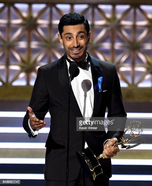 Actor Riz Ahmed accepts the Outstanding Lead Actor in a Limited Series or Movie award for 'The Night Of' onstage during the 69th Annual Primetime...