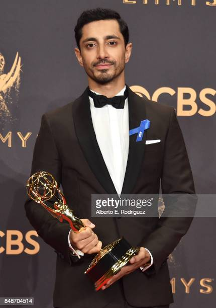 Actor Riz Ahmed winner of Outstanding Lead Actor in a Limited Series or Movie for 'The Night of' poses in the press room during the 69th Annual...