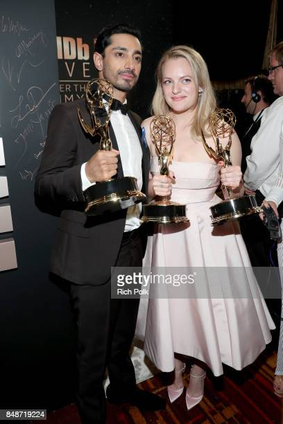 Actor Riz Ahmed winner of the award for Outstanding Lead Actor in a Limited Series or Movie for 'The Night of' and actor Elisabeth Moss winner of the...