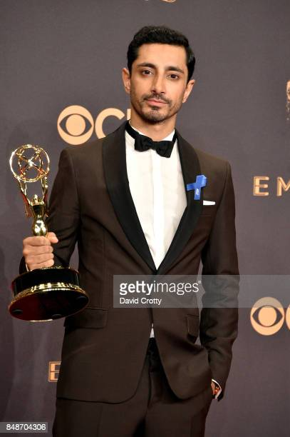 Actor Riz Ahmed winner of the Outstanding Lead Actor in a Limited Series or Movie award for 'The Night Of' poses in the press room during the 69th...