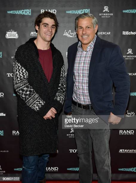 Actor RJ Mitte 9L and Jet Aviation Flight Services Vice President and General Manager Don Haloburdo attend the Gamechanger Films reception at the...