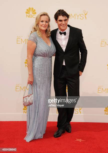 Actor RJ Mitte and Dyna Mitte arrive at the 66th Annual Primetime Emmy Awards at Nokia Theatre L.A. Live on August 25, 2014 in Los Angeles,...
