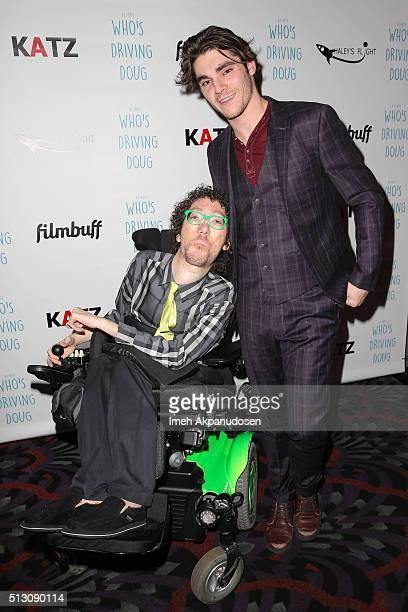 Actor RJ Mitte and writer Michael Carnick attend the premiere of FilmBuff's 'Who's Driving Doug' at Los Feliz 3 Cinemas on February 26 2016 in Los...