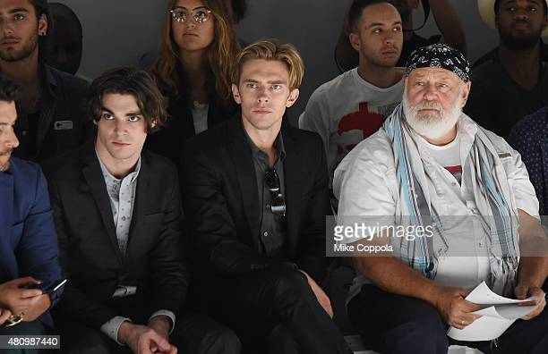 Actor RJ Mitte Model Caleb Lane and photographer Bruce Weber attend the Parke Ronen mens fashion show at New York Fashion Week Men's S/S 2016at...