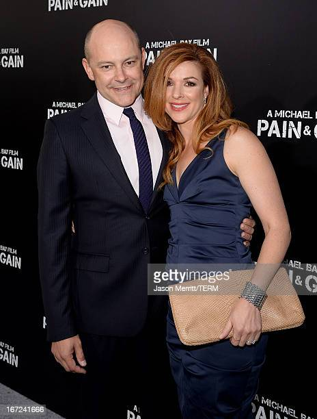 Actor Rob Corddry and Sandra Corddry arrive at the premiere of Paramount Pictures' Pain Gain at TCL Chinese Theatre on April 22 2013 in Hollywood...