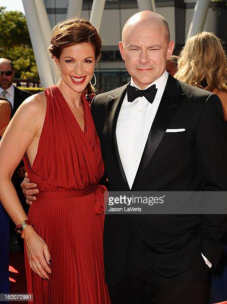Actor Rob Corddry and wife Sandra Corddry attend the 2012 Primetime Creative Arts Emmy Awards at Nokia Theatre LA Live on September 15 2012 in Los...