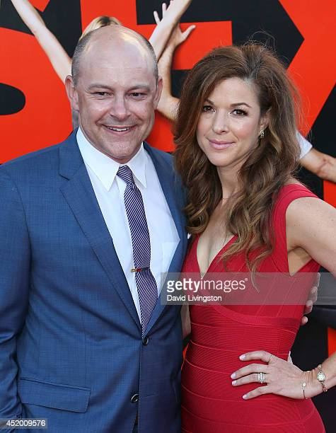 Actor Rob Corddry and wife Sandra Corddry attend the premiere of Columbia Pictures' Sex Tape at the Regency Village Theatre on July 10 2014 in...