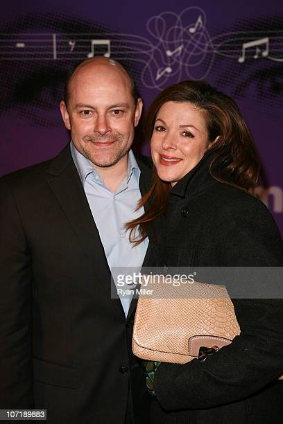 Actor Rob Corddry and wife Sandra Corddry pose during the arrivals for the opening night launch of the National Tour of Next to Normal at the Center...