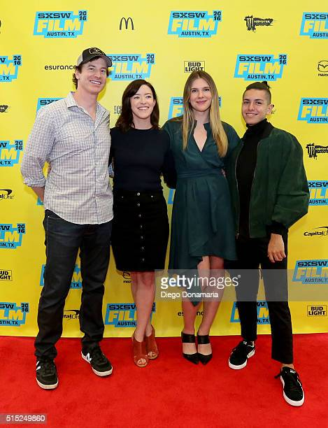 Actor Rob Huebel writer/director Julia Hart actors Lily Rabe and Anthony Quintal attend the premiere of Miss Stevens during the 2016 SXSW Music Film...